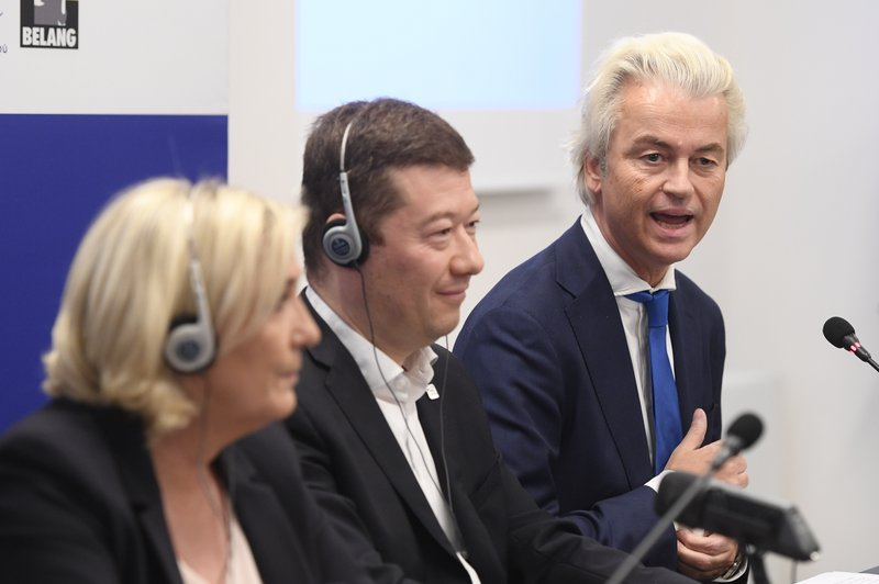 From left to right leader of French National Rally Marine Le Pen, Czech extreme-right Freedom and Direct Democracy (SPD) head Tomio Okamura and leader of Dutch Party for Freedom Geert Wilders attend a press conference before the rally against