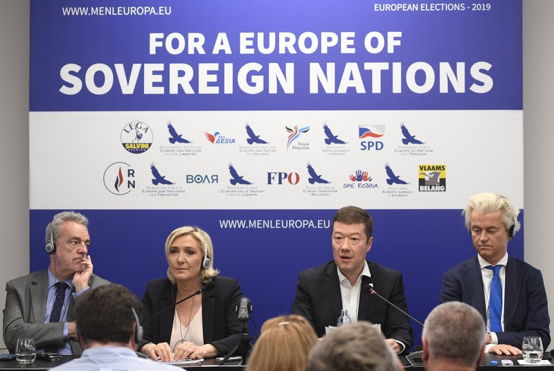 From left to right: Gerolf Annemans, chairman of the Europe of Nations and Freedom (ENF) EP group, leader of French National Front Marine Le Pen, Czech far-right Freedom and Direct Democracy (SPD) head Tomio Okamura and leader of Dutch Party for Freedom Geert Wilders attend a press conference before the rally against