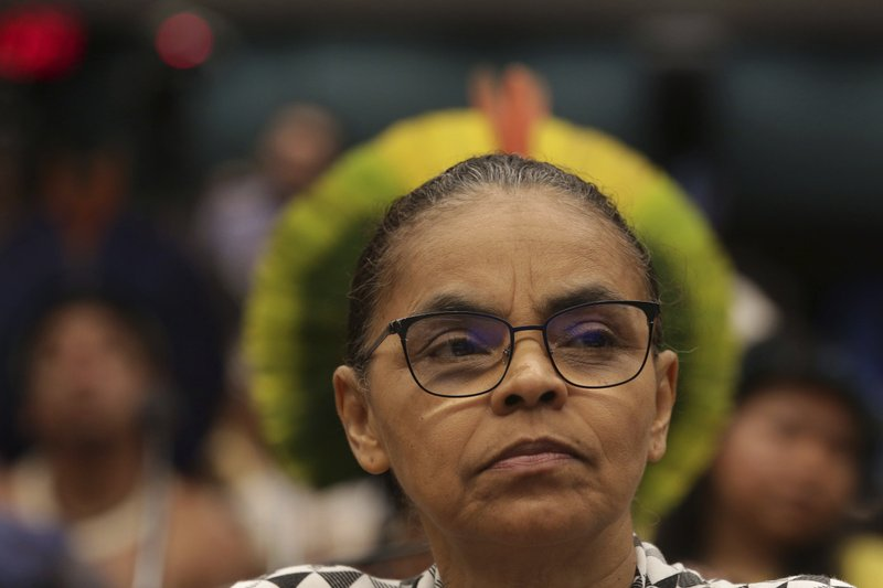 National Assembly member Marina Silva, a former minister of environment, attends a meeting with indigenous leaders to discuss land rights and the Chamber of Deputies' role in the protection of the environment in Brasilia, Brazil, Thursday, April 25, 2019. (AP Photo/Eraldo Peres)