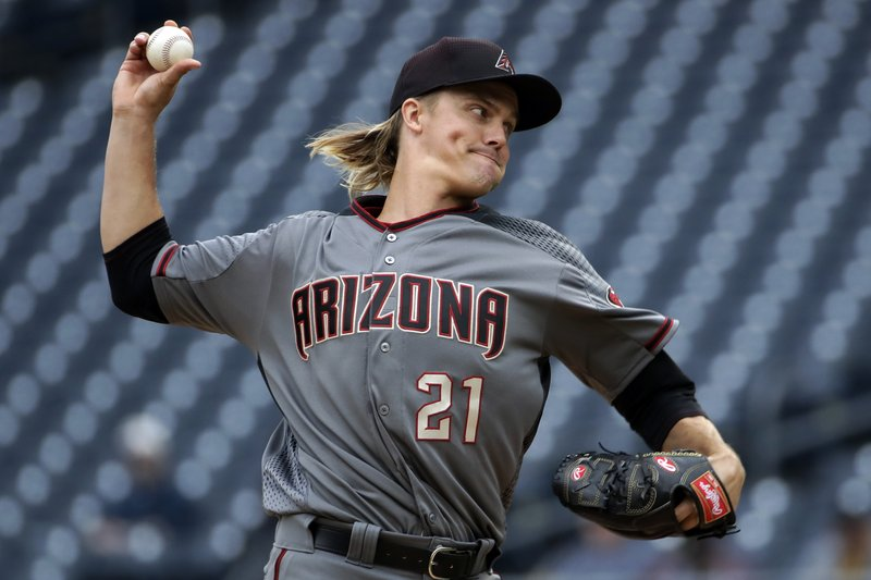 Arizona Diamondbacks starting pitcher Zack Greinke delivers during the first inning of a baseball game against the Pittsburgh Pirates in Pittsburgh, Thursday, April 25, 2019. (AP Photo/Gene J. Puskar)
