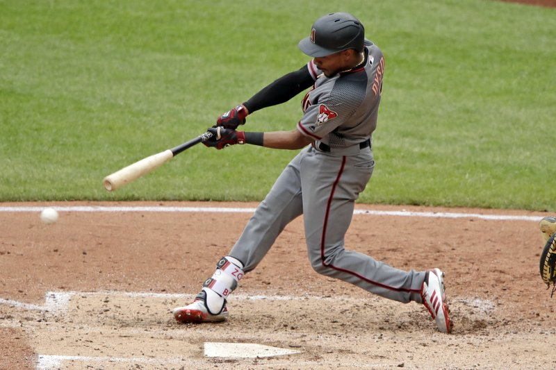 Arizona Diamondbacks' Jarrod Dyson drives in a run with a triple to right field off Pittsburgh Pirates starting pitcher Jameson Taillon during the fifth inning of a baseball game in Pittsburgh, Thursday, April 25, 2019. (AP Photo/Gene J. Puskar)