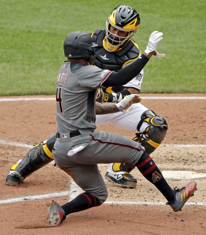 Pittsburgh Pirates catcher Elias Diaz, left, tags out Arizona Diamondbacks' Ketel Marte (4) who was attempting to score from third on a fielder's choice by Nick Ahmed off Pirates starting pitcher Jameson Taillon during the fourth inning of a baseball game in Pittsburgh, Thursday, April 25, 2019. (AP Photo/Gene J. Puskar)