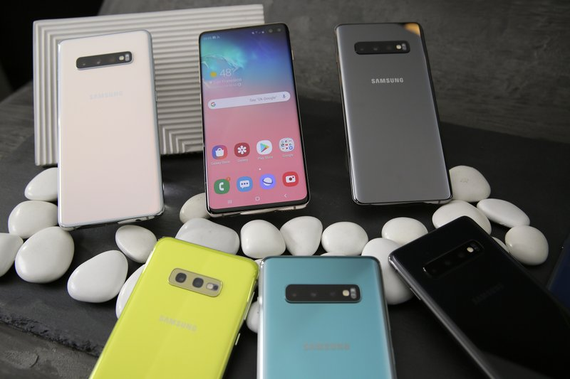FILE - In this Tuesday, Feb. 19, 2019, file photo is a selection of Samsung Galaxy S10 smartphones during an event in San Francisco. (AP Photo/Eric Risberg, File)
