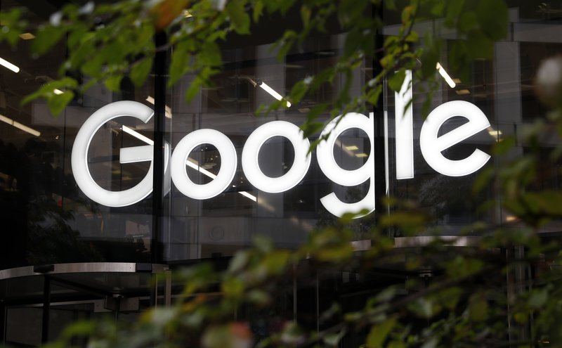 FILE - This Nov. 1, 2018, file photo shows a photo of the Google logo at their offices in Granary Sqaure, London. (AP Photo/Alastair Grant, File)