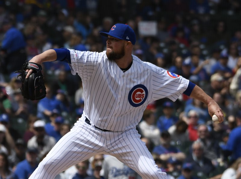 Chicago Cubs starting pitcher Jon Lester throws against the Los Angeles Dodgers during the first inning of a baseball game, Thursday, April, 25, 2019, in Chicago. (AP Photo/David Banks)