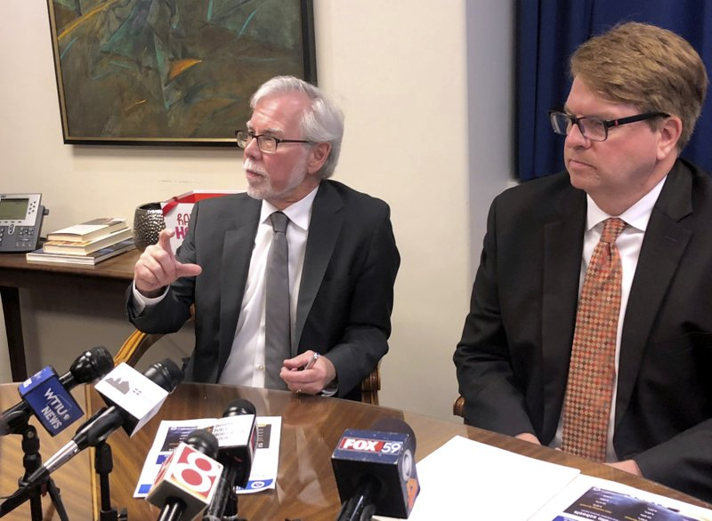 Indiana Senate Minority Leader Tim Lanane, D-Anderson, left, speaks during a news conference with House Minority Leader Phil GiaQuinta, D-Fort Wayne, at the Statehouse in Indianapolis Thursday, May 25, 2019. (AP Photo/Tom Davies)