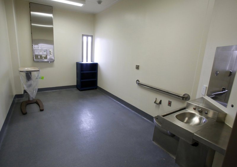 FILE - This June 25, 2013 file photo shows a secure patient treatment room in a housing unit at the California Correctional Health Care Facility in Stockton, Calif. (AP Photo/Rich Pedroncelli, File)