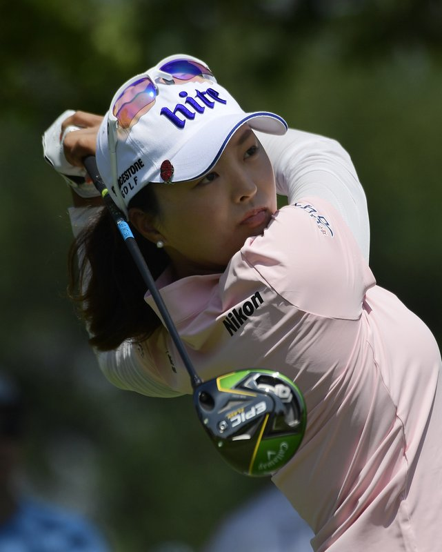 Jin Young Ko, of South Korea, tees off on the fifth hole during the first round of the HUGEL-Air Premia LA Open golf tournament at Wilshire Country Club Thursday, April 25, 2019, in Los Angeles. (AP Photo/Mark J. Terrill)