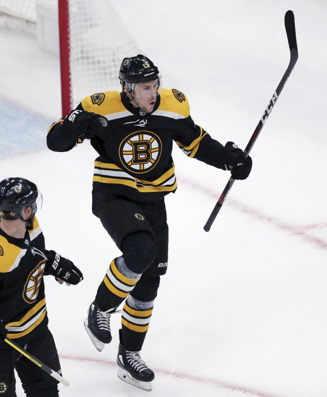 Boston Bruins center Charlie Coyle celebrates after his goal off Columbus Blue Jackets goaltender Sergei Bobrovsky during the third period of Game 1 of an NHL hockey second-round playoff series, Thursday, April 25, 2019, in Boston. (AP Photo/Charles Krupa)