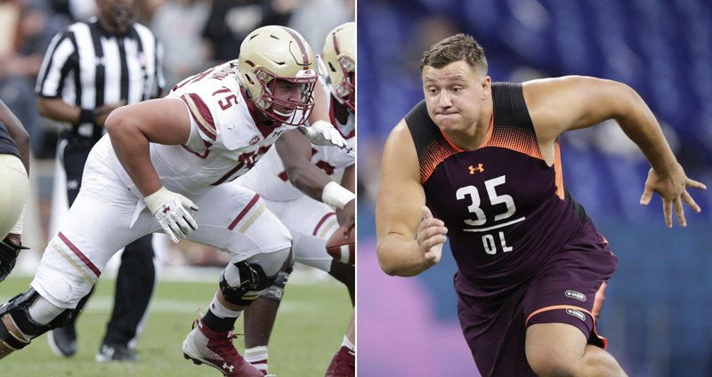 FILE - At left, in a Sept. 22, 2018, file photo, Boston College offensive lineman Chris Lindstrom (75) plays against Purdue during the second half of an NCAA college football game in West Lafayette, Ind. (AP Photo/Michael Conroy, File)