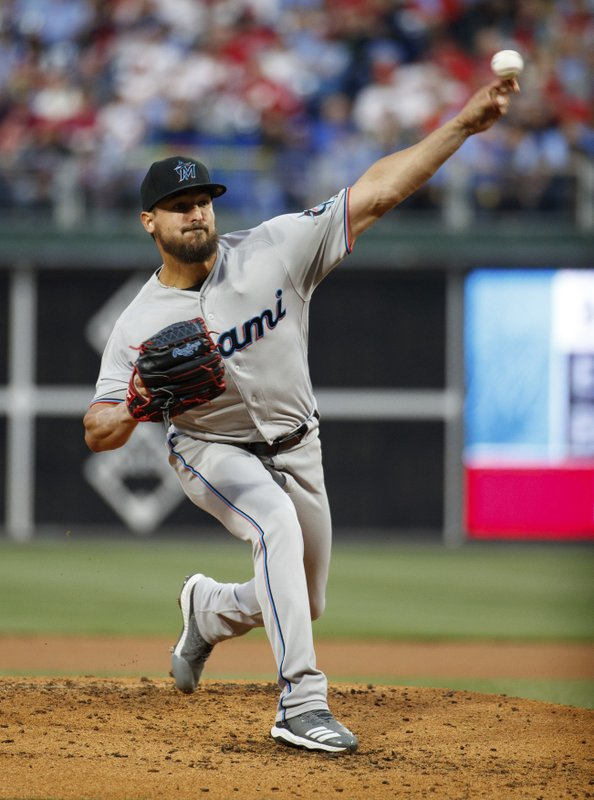 Miami Marlins starting pitcher Caleb Smith throws during the first inning of a baseball game against the Philadelphia Phillies, Thursday, April 25, 2019, in Philadelphia. (AP Photo/Chris Szagola)