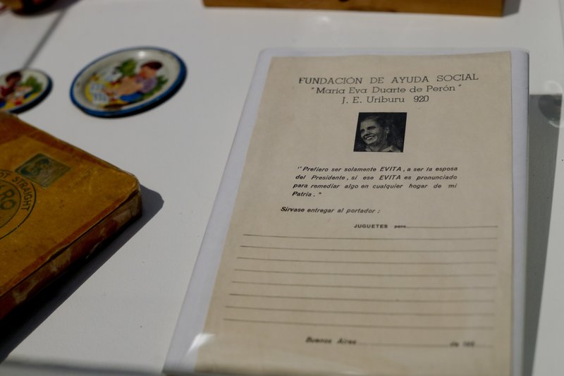 Papers used to register the distribution of toys by the Eva Perón Foundation are displayed at an exhibit at the Evita Museum in Buenos Aires, Argentina Wednesday, April 17, 2019. (AP Photo/Natacha Pisarenko)
