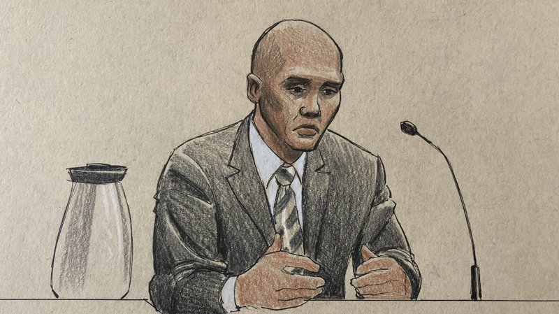 This courtroom sketch depicts former Minneapolis police officer Mohamed Noor on the witness stand Thursday, April 25, 2019, in Minneapolis during his trial in the fatally shooting of an unarmed Australian woman, Justine Ruszczyk Damond, in July 2017 after she called 911 to report a possible sexual assault behind her home. (Cedric Hohnstadt via AP)