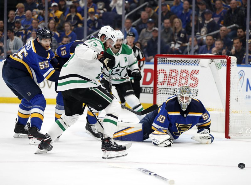 St. Louis Blues goaltender Jordan Binnington (50) loses his stick defending against pressure from Dallas Stars right wing Alexander Radulov (47) as the Blues' Colton Parayko (55) watches in the first period of Game 1 of an NHL second-round hockey playoff series Thursday, April 25, 2019, in St. (AP Photo/Jeff Roberson)