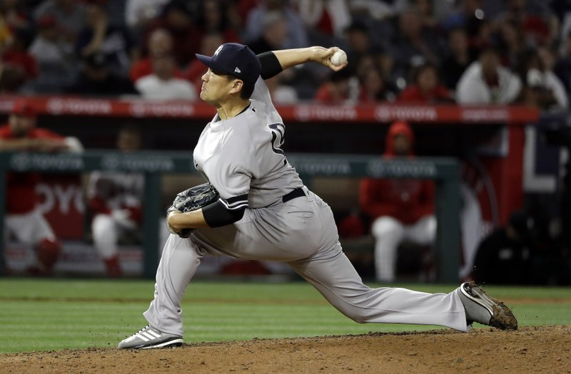 New York Yankees starting pitcher Masahiro Tanaka throws to the Los Angeles Angels during the fifth inning of a baseball game Thursday, April 25, 2019, in Anaheim, Calif. (AP Photo/Marcio Jose Sanchez)