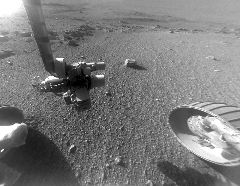 FILE - This Jan. 4, 2018 photo made available by NASA shows a view from the front Hazard Avoidance Camera of the Opportunity rover on the inboard slope of the western rim of Endeavour Crater on the planet Mars. (NASA/JPL-Caltech via AP, File)
