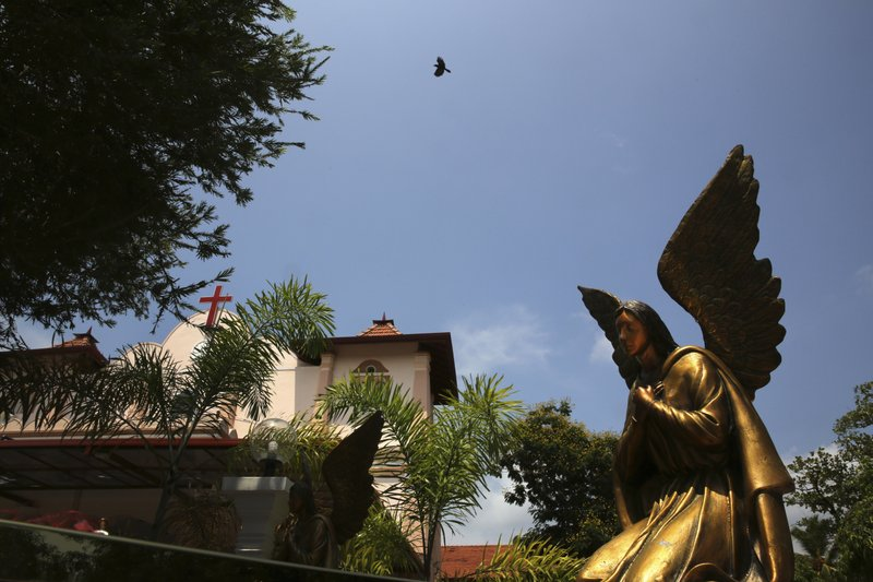 In this Thursday, April 25, 2019 photo, a bird flies over St. Sebastian's Church, where a suicide bomber blew himself up on Easter Sunday in Negombo, north of Colombo, Sri Lanka. (AP Photo/Manish Swarup)