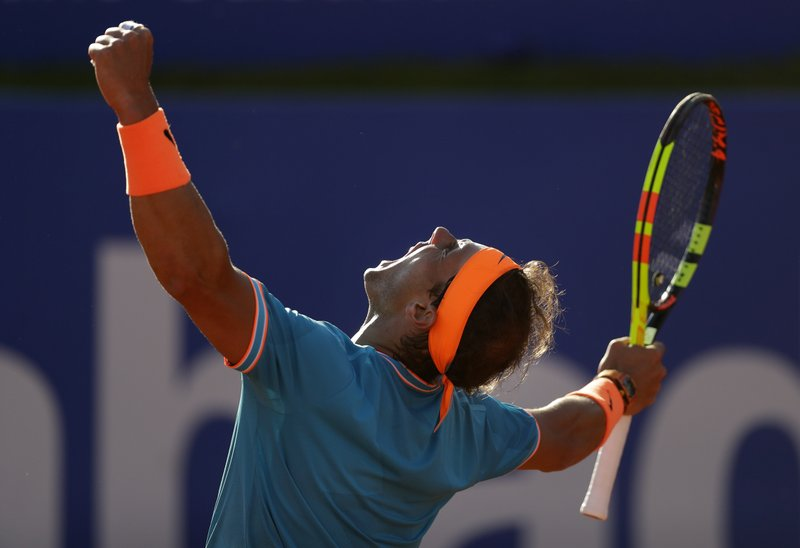 Rafael Nadal of Spain celebrates winning against Jan-Lennard Struff of Germany in two sets 7-5, 7-5, during a quarterfinal match at the Barcelona Open Tennis Tournament in Barcelona, Spain, Friday, April 26, 2019. (AP Photo/Manu Fernandez)