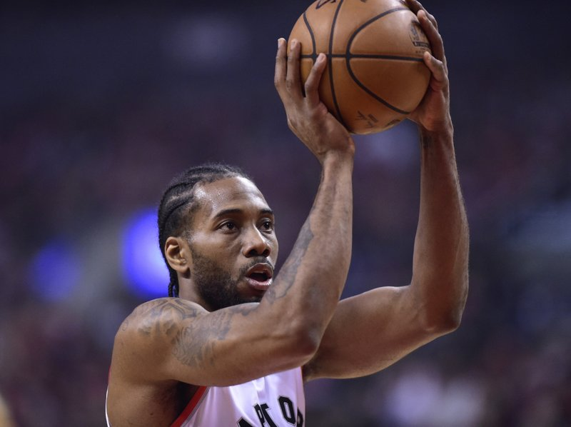 Toronto Raptors forward Kawhi Leonard shoots a free throw against the Orlando Magic during the first half in Game 5 of a first-round NBA basketball playoff series, Tuesday, April 23, 2019 in Toronto. (Frank Gunn/Canadian Press via AP)