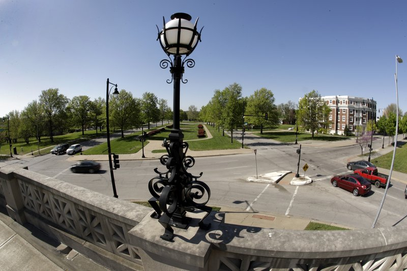 Ornate architecture adorns structures in the median of the newly-named Dr. Martin Luther King Jr. Boulevard Friday, April 26, 2019, in Kansas City, Mo. (AP Photo/Charlie Riedel)