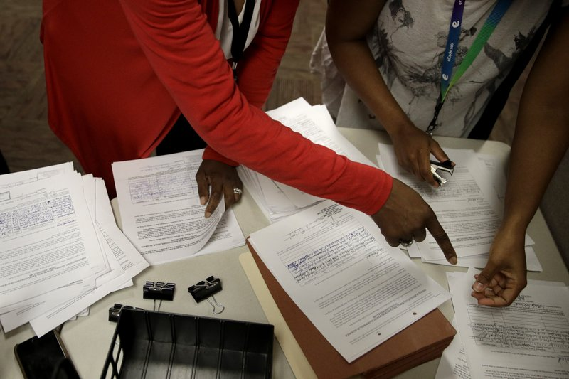 City workers to look through a petition with 2,857 signatures, after citizens opposed to changing the name of the Paseo Boulevard to Dr. (AP Photo/Charlie Riedel)