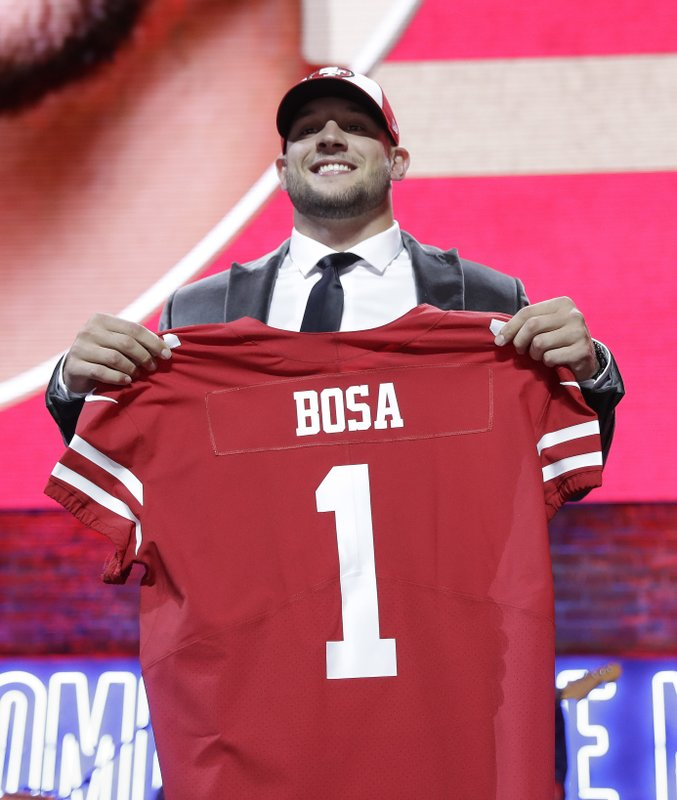 Ohio State defensive end Nick Bosa shows off his new jersey after the San Francisco 49ers selected Bosa in the first round at the NFL football draft, Thursday, April 25, 2019, in Nashville, Tenn. (AP Photo/Mark Humphrey)