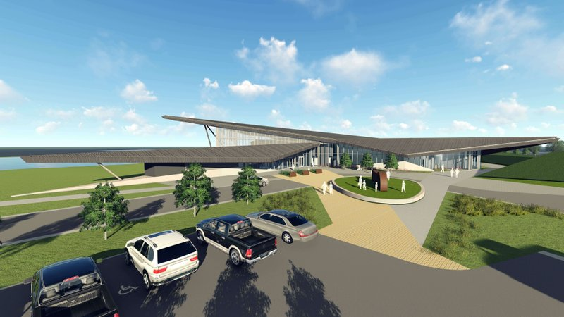This artist's rendering provided by the United States Marshals Museum Friday, April 26, 2019, depicts the future museum in Fort Smith, Arkansas. (United States Marshals Museum via AP)