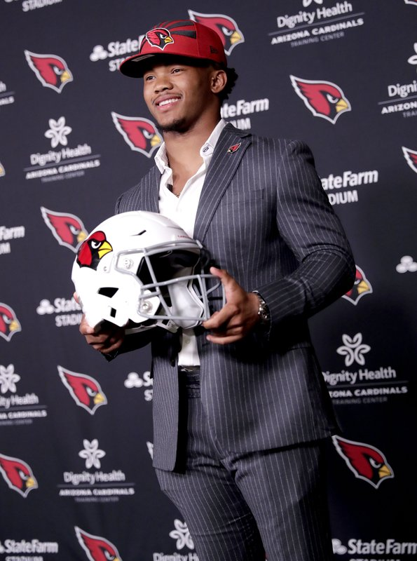 Arizona Cardinals NFL football quarterback Kyler Murray is introduced, Friday, April 26, 2019, at the Cardinals' practice facility in Tempe, Ariz. (AP Photo/Matt York)