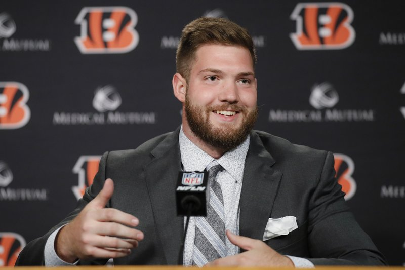 Cincinnati Bengals first-round draft pick Jonah Williams speaks during a news conference at Paul Brown Stadium, Friday, April 26, 2019, in Cincinnati. (AP Photo/John Minchillo)