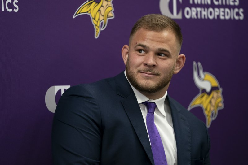 Minnesota Vikings first-round draft pick Garrett Bradbury attends an NFL football news conference in Eagan, Minn. (Renee Jones Schneider/Star Tribune via AP)