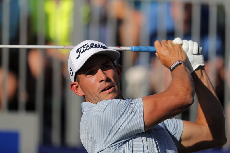 Scott Stallings hits off the first tee during the second round of the PGA Zurich Classic golf tournament at TPC Louisiana in Avondale, La. (AP Photo/Gerald Herbert)
