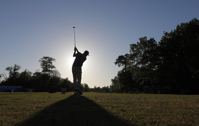 Josh Teater hits off the 10th tee during the second round of the PGA Zurich Classic golf tournament at TPC Louisiana in Avondale, La. (AP Photo/Gerald Herbert)