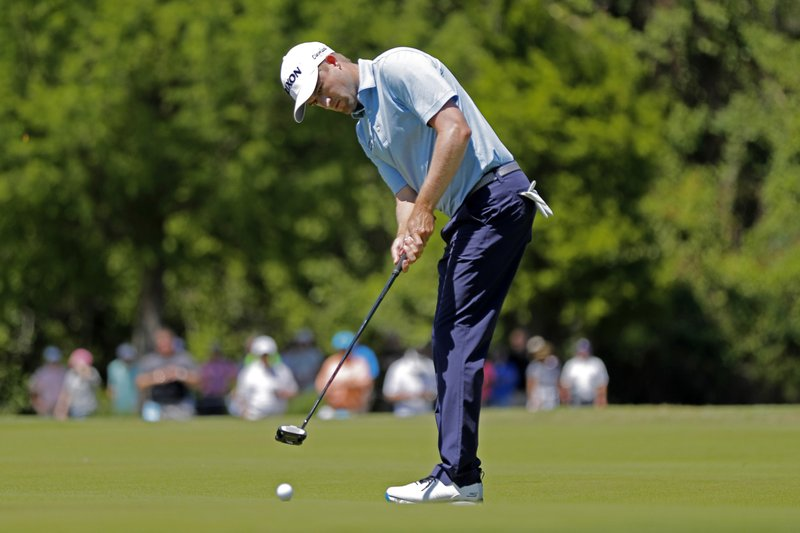 Russell Knox, of Scotland, putts on the second green during the second round of the PGA Zurich Classic golf tournament at TPC Louisiana in Avondale, La. (AP Photo/Gerald Herbert)