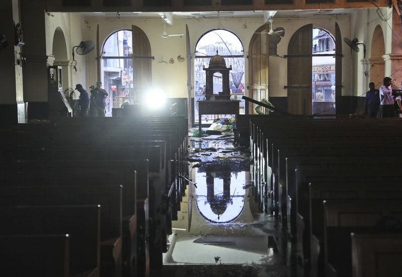 The interiors of St. Anthony's Church stand damaged after Sunday's bombing, in Colombo, Sri Lanka, Friday, April 26, 2019. (AP Photo/Manish Swarup)