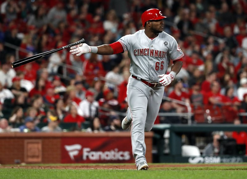 Cincinnati Reds' Yasiel Puig tosses aside his bat as he watches his two-run home run during the eighth inning of a baseball game against the St. (AP Photo/Jeff Roberson)