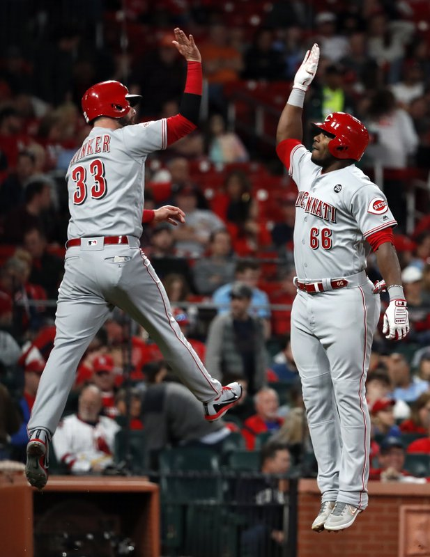 Cincinnati Reds' Yasiel Puig (66) is congratulated by teammate Jesse Winker (33) after hitting a two-run home run during the eighth inning of a baseball game against the St. (AP Photo/Jeff Roberson)