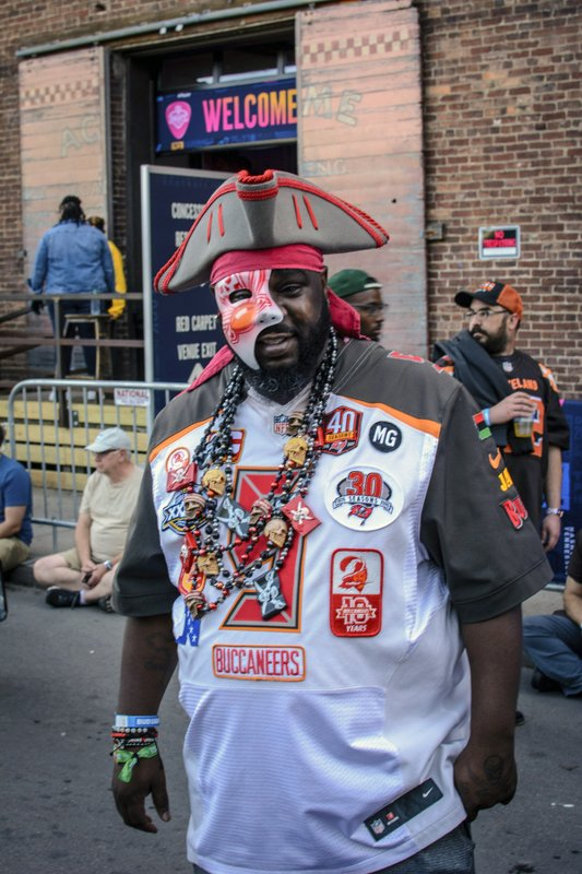 Tampa native and Buccaneer fan Jamal Sanders supports his team during the NFL Draft, Friday, April 26, 2019 in Nashville, Tenn. (AP Photo/Jim Diamond)