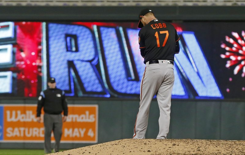 Baltimore Orioles pitcher Alex Cobb looks down at the mound after giving up a solo home run to Minnesota Twins' Max Kepler in the fourth inning of a baseball game Friday, April 26, 2019, in Minneapolis. (AP Photo/Jim Mone)