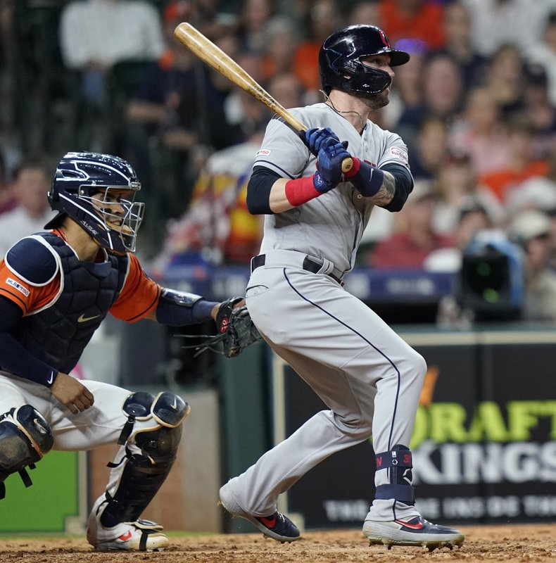 Cleveland Indians' Tyler Naquin, right, hits an RBI double to score Greg Allen as Houston Astros catcher Robinson Chirinos watches during the seventh inning of a baseball game Friday, April 26, 2019, in Houston. (AP Photo/David J. Phillip)