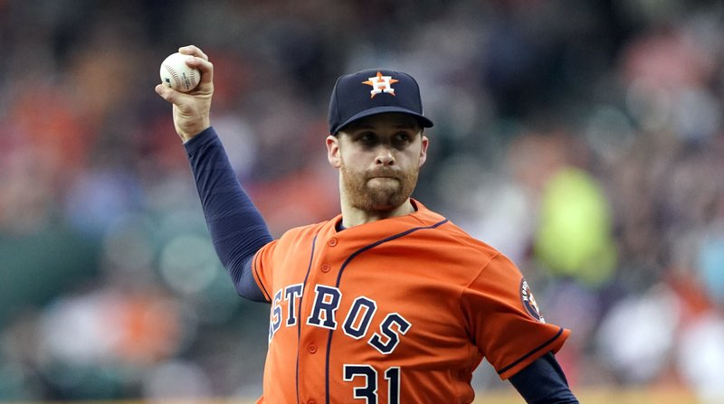 Houston Astros starting pitcher Collin McHugh throws against the Cleveland Indians during the first inning of a baseball game Friday, April 26, 2019, in Houston. (AP Photo/David J. Phillip)