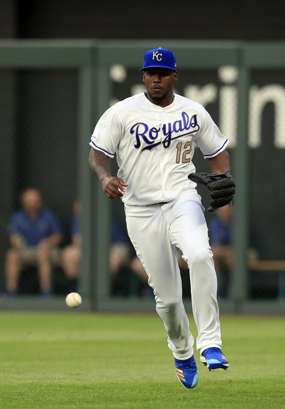 A fly ball, hit by Los Angeles Angels designated hitter Mike Trout, lands in front of Kansas City Royals right fielder Jorge Soler (12) during the first inning of a baseball game at Kauffman Stadium in Kansas City, Mo. (AP Photo/Orlin Wagner)