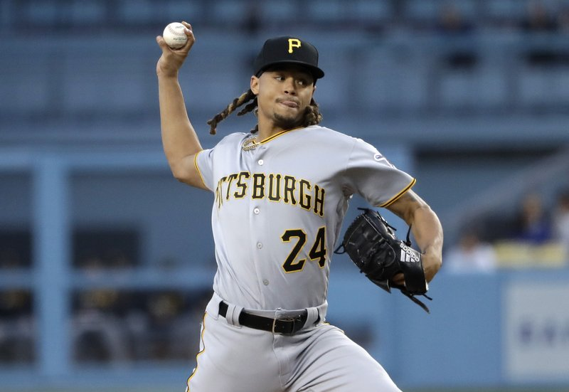 Pittsburgh Pirates starting pitcher Chris Archer throws to the Los Angeles Dodgers during the first inning of a baseball game Friday, April 26, 2019, in Los Angeles. (AP Photo/Marcio Jose Sanchez)