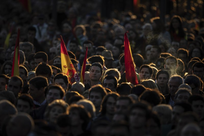Spain's far-right Vox Party supporters attend the closing election campaign event in Madrid, Spain, Friday, April 26, 2019. (AP Photo/Bernat Armangue)