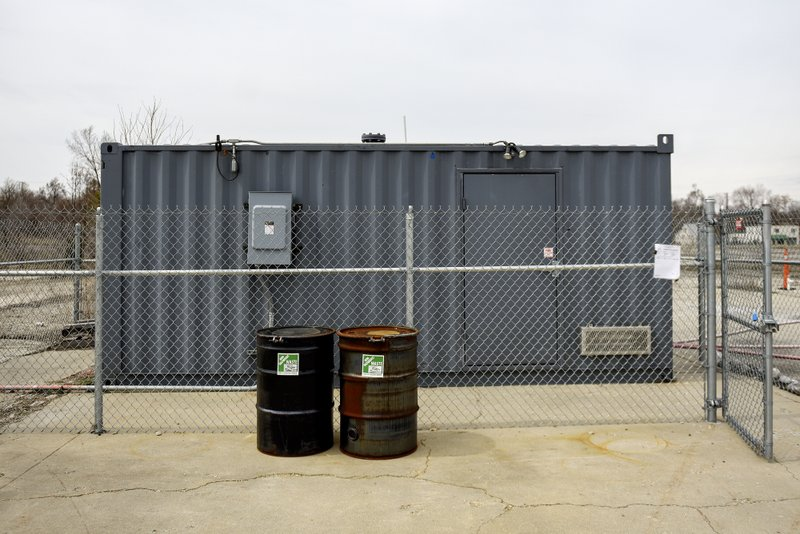 The building holding the pilot propane biosparge system used to clean up 1,2 dioxane from underground photographed on Thursday, April 11, 2019, at the RACER Lansing Plant 2. (Nick King/Lansing State Journal via AP)