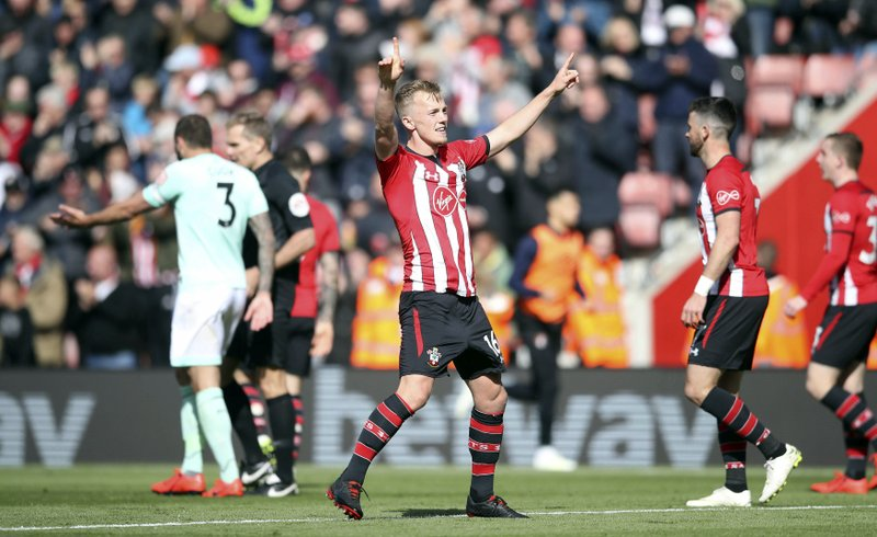 Southampton's James Ward-Prowse celebrates scoring his side's second goal of the game during their English Premier League soccer match against Bournemouth at St Mary's Stadium, Southampton, England, Saturday, April 27, 2019. (Adam Davy/PA via AP)