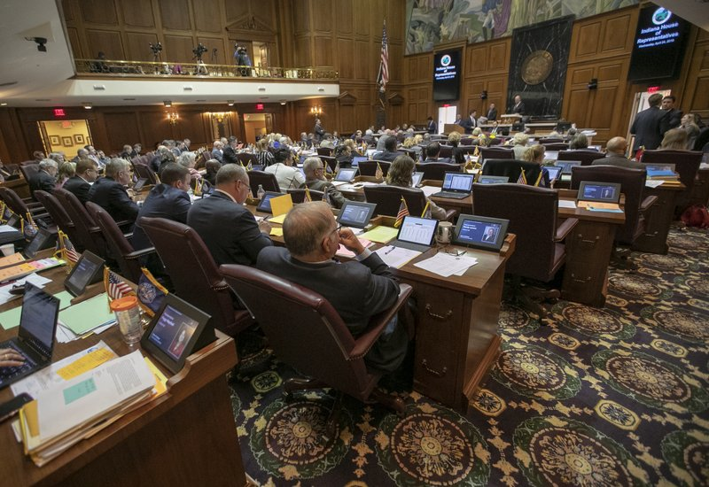 Lawmakers attend the final scheduled day of the legislative session at Indiana Statehouse in Indianapolis, Wednesday, April 24, 2019. (Robert Scheer/The Indianapolis Star via AP)