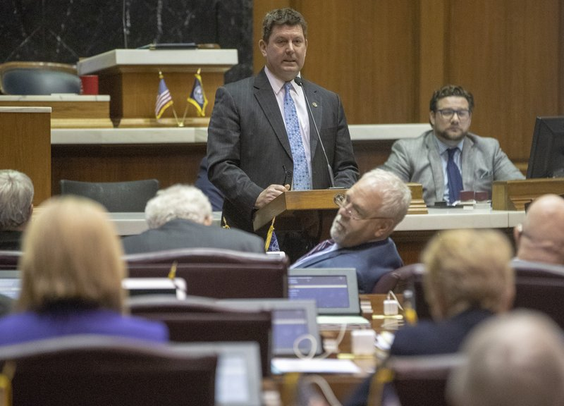Jim Lucas speaks during the final scheduled day of the legislative session at Indiana Statehouse in Indianapolis, Wednesday, April 24, 2019. (Robert Scheer/The Indianapolis Star via AP)