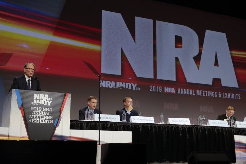 National Rifle Association Executive Vice President Wayne LaPierre speaks at the NRA Annual Meeting of Members in Indianapolis, Saturday, April 27, 2019. (AP Photo/Michael Conroy)