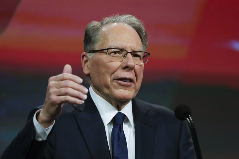 Nation Rifle Association Executive Vice President Wayne LaPierre speaks at the NRA Annual Meeting of Members in Indianapolis, Saturday, April 27, 2019. (AP Photo/Michael Conroy)