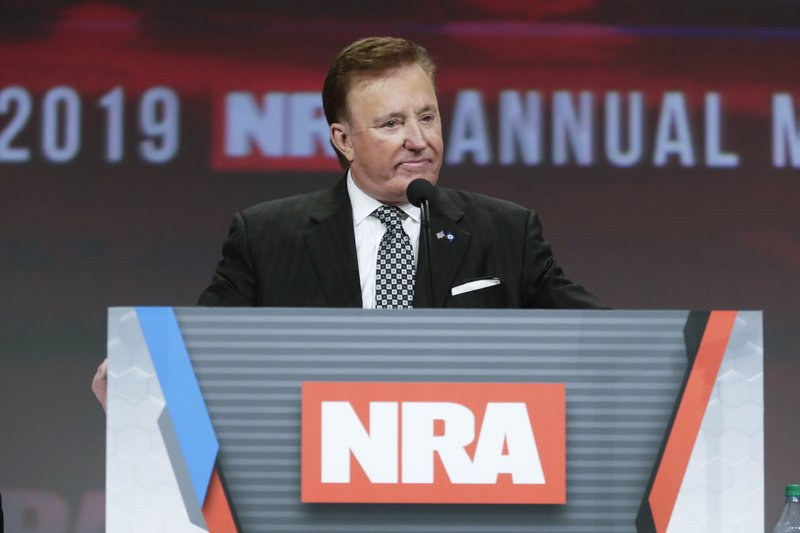 National Rifle Association first vice president Richard Childress chairs the NRA Annual Meeting of Members in Indianapolis, Saturday, April 27, 2019. (AP Photo/Michael Conroy)